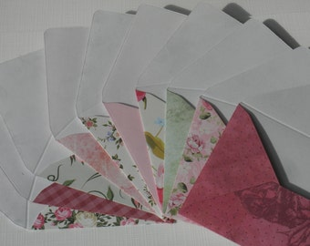 Set of 10 Mini enveloppes with notecards, lots of roses