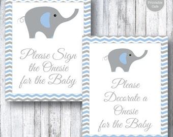 Blue & Gray Elephant PRINTABLE Baby Shower Decorate a Onesie Sign - Sign a Onesie - Baby Shower Game Activity - Grey - Chevron