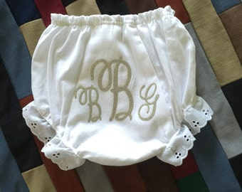 Personalized Baby Bloomers Diaper Cover with Initial Monogram