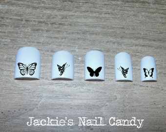Black Butterflies Nail Decals - Swirls, Monarch, Butterfly Wings Nail Art - 25 Designs