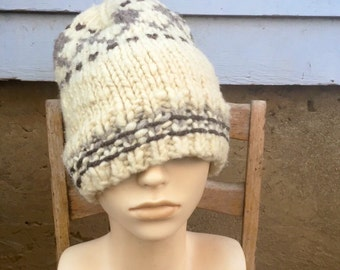 Vintage White With Gray Chunky Wool Slouchy Knit Beanie