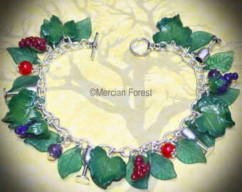 The Bracelet of Dionysus - Handmade Pagan Jewellery for Wicca, Witch Honouring The God of Grapes, Wine, and Revelry at  Mabon or Equinox