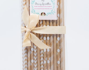 Kraft Paper Straws -White Paper Straws *Kraft colored Straws *Rustic Wedding *Rustic Holiday decorations *Drinking Straw *Christmas Party