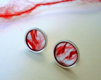 Red wool silver studs (REDUCED)