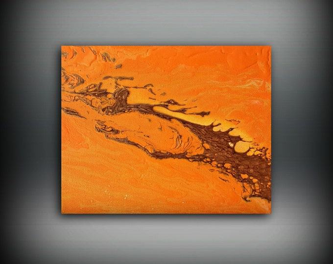 ORIGINAL Painting, Art Painting Acrylic Painting Abstract Painting Orange Wall Hanging Small Wall Art Modern Wall Decor 8x10 Orange Painting