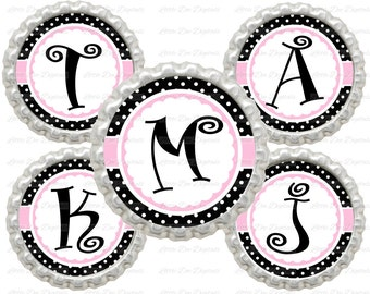 """20% OFF SALE Instant Download Pink And Black Polka Dot Alphabet Letters Initials  1"""" Circle Bottle Cap Images"""