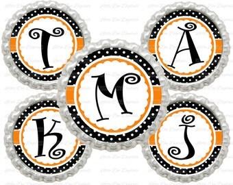 "20% OFF SALE Instant Download Black and Orange Polka Dot Alphabet Letters Initials 1"" Circle Bottle Cap Images"