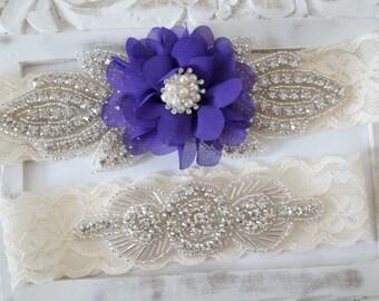 Wedding Garter Set, Bridal Garter Set, Vintage Wedding, Pearl Garter, Something Blue - Style 820