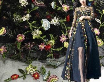 lace fabric, floral lace fabric, lace fabric for wedding dress, wedding gown lace fabric , fabric by yard,