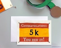 Congratulations 5k run card, 5km card for runner, couch to 5k, C25k, running card