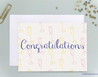 Congratulations card, champagne congratulations card, congrats, pink champagne, white champagne