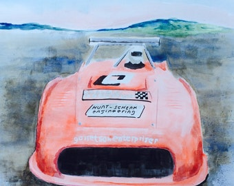 Porsche 911 Spyder Watercolor Painting