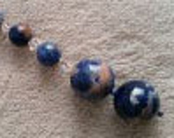 Scissor Fob - Orange Sodolite and Swarovski Crystals