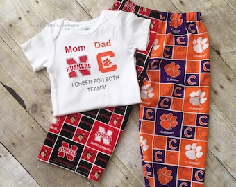 Custom House Divided Bodysuit ( Nebraska Cornhuskers - Clemson Tigers) I Cheer For Both Teams and Pants or Shorts 2pc Set