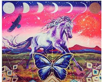 Original Painting Unicorn Heart Moon Phases Rainbow Hawk Light