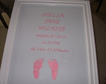 birth annoucement embroidery and baptism announcement
