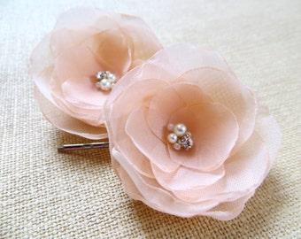 Peach wedding bridal flower hair accessory (set of 2), bridal hairpiece, bridal hair flower, wedding hair accessories, bridal head piece