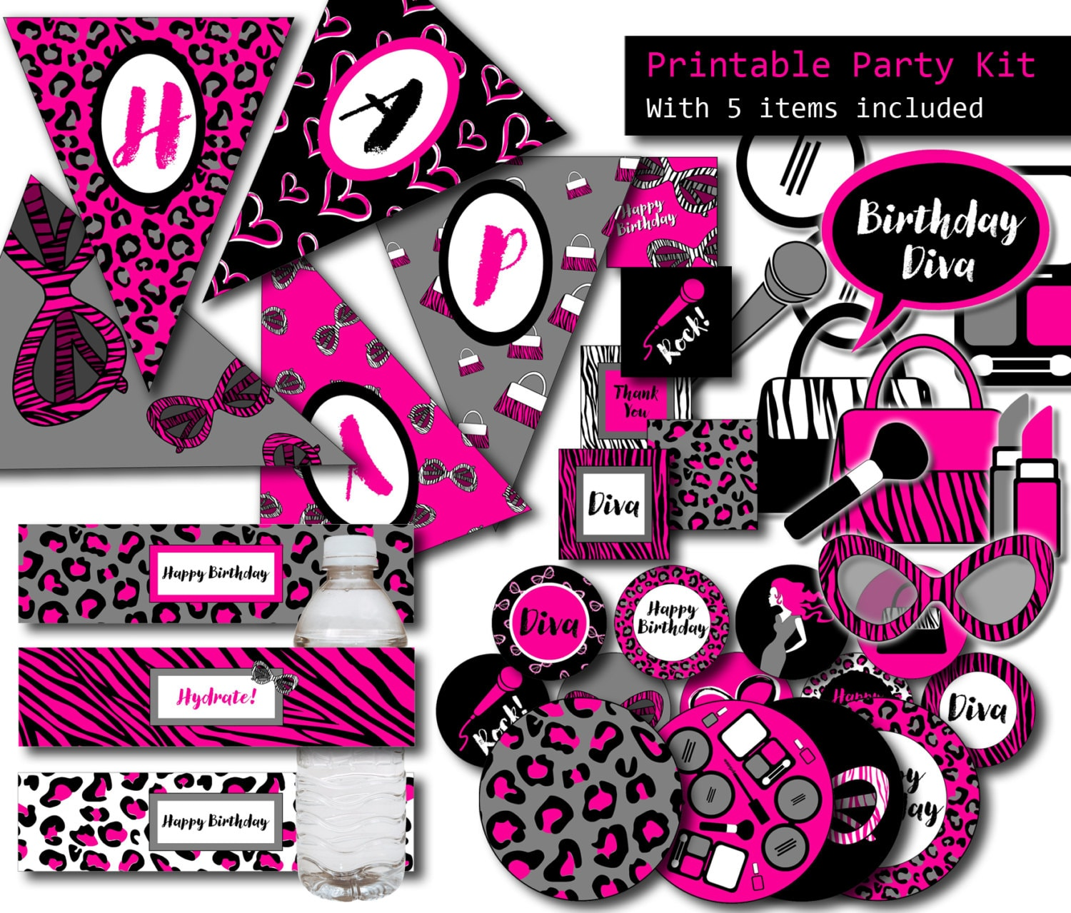 Diva Party 5 Items Printable Party Kit Girl Birthday
