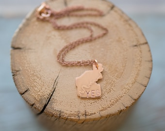 Small Handmade Copper YEG Stamped Yeglace Necklace Outline of Edmonton with North Saskatchewan River Etched on it