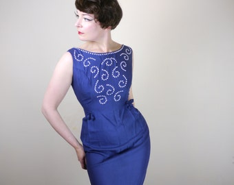ROYAL BLUE wiggle dress by Carnegie - embellished bead and SEQUIN bust - hourglass fit - 50s / 60s Mid Century dress uk10 / small UK12 / s-m