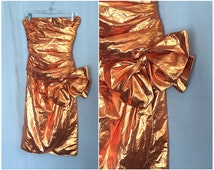 Copper Metallic Dress Bow Skirt Strapless Vintage Party Prom Women's Small or Medium