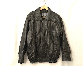 Black Leather Jacket Vintage Patchwork Coat Men's Size Large