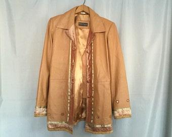 Leather Jacket Tan Coat Vintage Made in India Donna Lepure Embellished Women's Medium