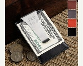 Groomsmen Engraved Leather Money Clip Wallet  and Credit Card Holder (210)