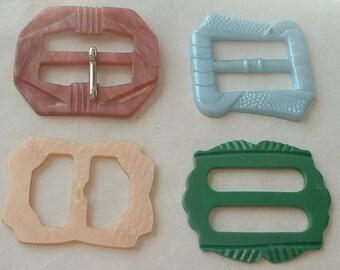 4 x Vintage plastic buckles