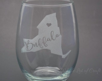 Etched Buffalo Wine Glass - Buffalo NY Wine Glass - NY State Wine Glass - Barware - Buffalo NY Home Decor - Personalized State Wine Glass