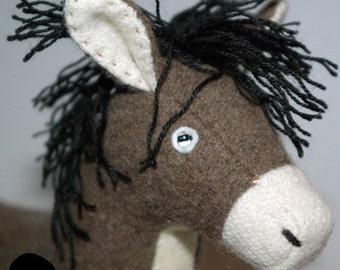 Stubborn plushy donkey, plushed donkey, donkey toys, stuffed donkey, felt animals,