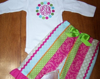 Monogrammed bodysuit with matching ruffled pants
