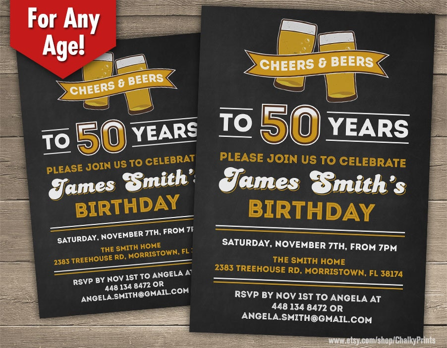 60th birthday invitation male cheers to 60 years cheers and, Birthday invitations