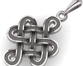 Celtic Endless Knot Chinese Knot Knot of Eternity - Karma,Eternity, Buddhism, Tibet Knot  925 Sterling Silver