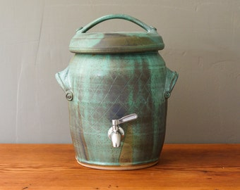 Made to Order ** Two gallon kombucha fermentation crock in Mineral Green with Robin's Egg liner. Handmade, wheel-thrown ceramic stoneware.