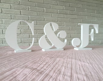Custom signs -wooden INITIALS -custom letters wedding table decoration, freestanding NAME signs for sweetheart table. Personalized signs.