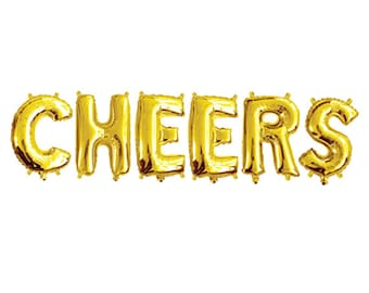 "CHEERS GOLD FOIL Balloons - Gold Foil Alphabet Balloon Combo Set ""Cheers"" (35cm / 14"")"