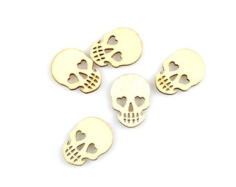 SKULL WOOD CUTOUT (Set of 5) -  Skulls with Heart Eyes Laser Cut Natural Wood Cutout (3cm x 2.2cm)