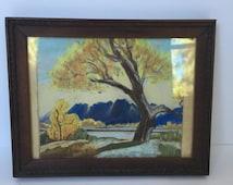 Vintage Original Pastel Landscape Drawing Framed