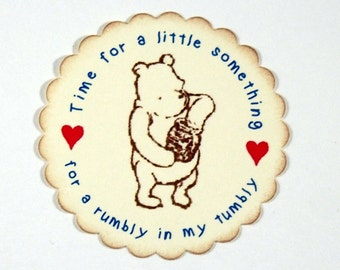 Winnie the Pooh, Rumbly in My Tumbly, Stickers, Tags, Baby Shower, Birthday Party, Favor Bag, Jar, Labels, 2 inch, Set of 6 or 12