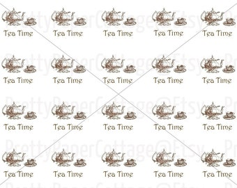 PRINTABLE, Tea Time, Instant, Digital Download, Bridal Shower, Tea Party, Tea Pot, Teacup, PDF, JPG, 2 Inch