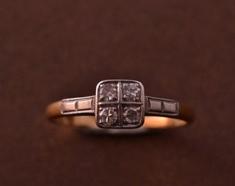 18ct Gold Art Deco Ring With Diamonds