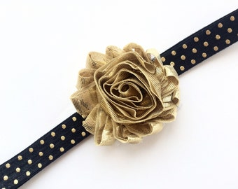 Black and Gold Headband - Gold Flower Head Band - Gold and Black Headband for Girls - Baby Headband - Gold Polka Dot Headband Photo Prop -
