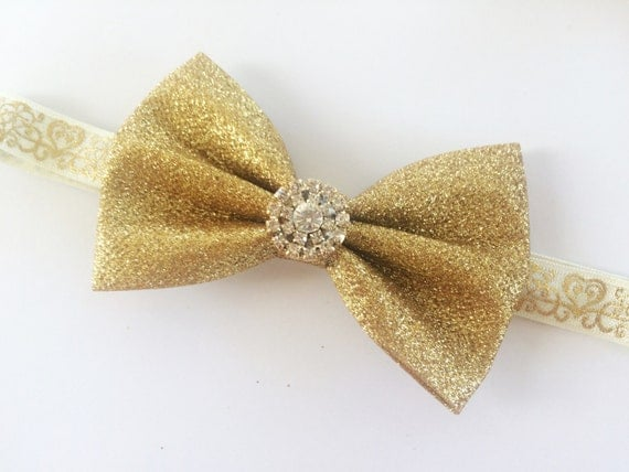 Glitter Gold Bow for Girls - Glitter Gold Hair Bow Headband for Christmas - Gold Sparkle Hair Bow - Holiday Bow for Girls - Ivory Headband