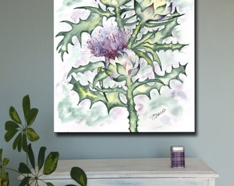 THREE SCOTTISH THISTLES  Scotland art print of original watercolour painting heritage emblem thistle watercolor