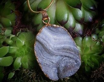 Chalcedony druzy Quartz  necklace with amazing sparkles