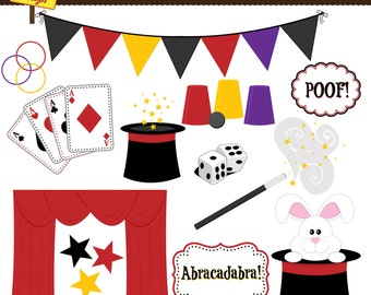 Magic Clipart - Magic Show Clip Art - Personal Use - Commercial Use - Card Design, & Scrapbooking