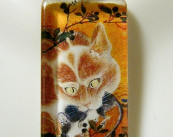 Cat art by Kawanabe Kyosai glass pendant and chain - CGP12-068