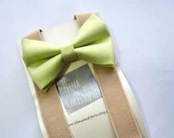 Green tea bow tie and Beige Suspender Set for baby/toddler/teen/adult