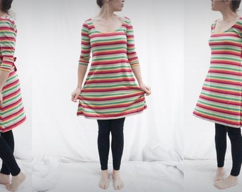short dress in multicolor striped cotton with 3/4 sleeve jersey